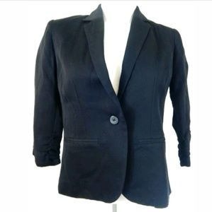 Topshop Cropped Ruched Sleeve Blazer